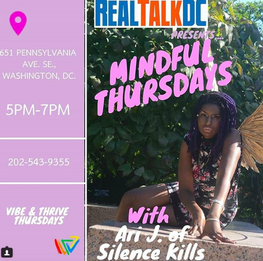 Flyer for weekly Mindful Thursdays events