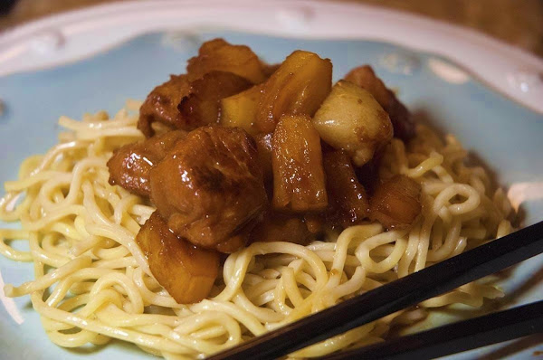 Simple Sweet & Sour Pineapple Pork With Noodles Recipe