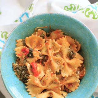 One Pot Spinach and Mushroom Bowtie Pasta.
