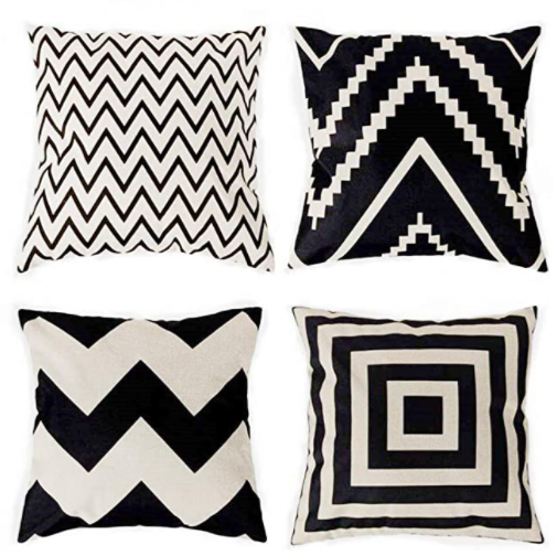 traney throw pillows black and white geometric design