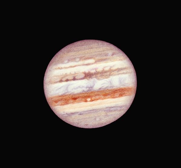 """Photo: Jupiter du 21 janvier 2011 entre 17H50 et 18H20 TU du sud au nord. Taille de 36,6"""" d'arc à cette période où la SEB se réanime. T406 à 450X en bino, forte turbu."""
