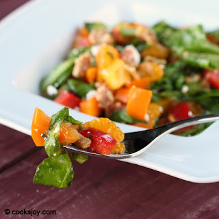 Spinach Salad with Colored Peppers.
