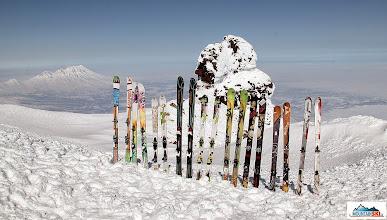 Photo: Our ski fence on the summit of Koryaksky (3456 m)