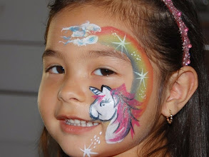 Photo: Unicorn rainbow by Bella the Clown. Call to book Bella today at 888-750-7024