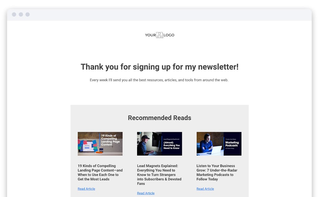 thank you page example leadpages webinar