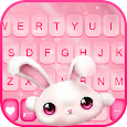 White Cute Bunny Keyboard Background