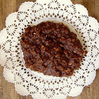 No Bake Chocolate Peanut Butter Oatmeal Cookies.