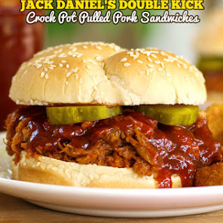 Jack Daniels Crock Pot Pulled Pork Sandwich.