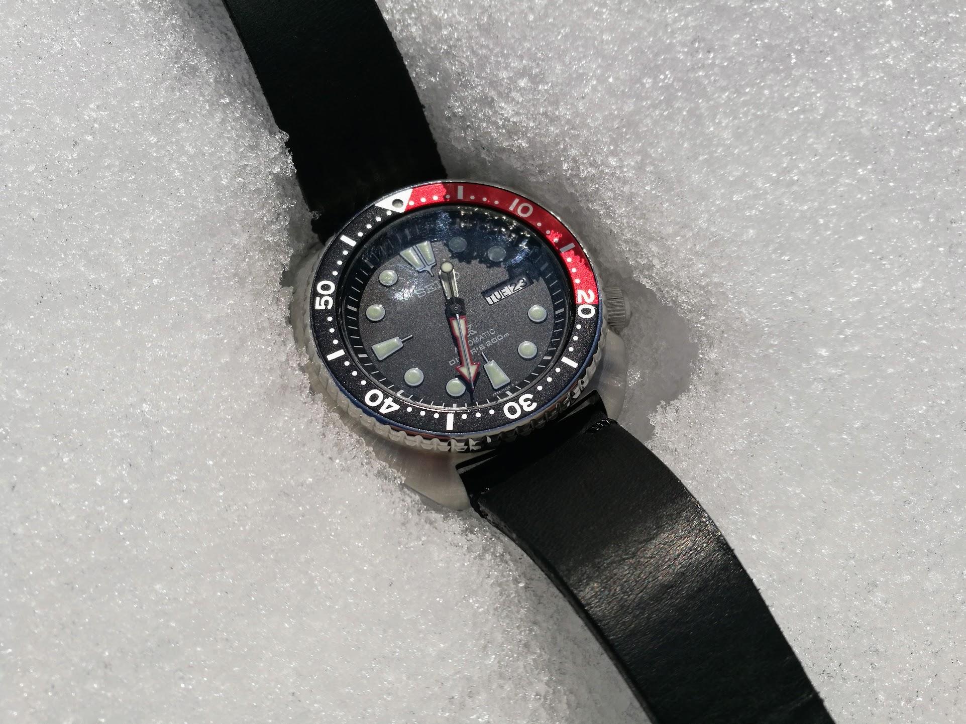 雪中のセイコーダイバー