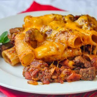 Cheesey Steak & Bacon Baked Pasta.