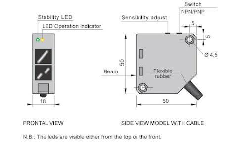 Fotocell mot reflektor, 3m, polariserad, PNP/NPN, NO+NC