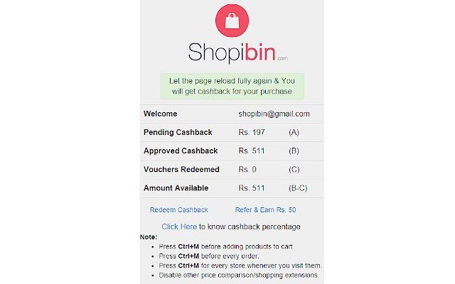 Shopibin Cashback