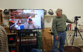 "Photo: Bert and Gary play photo games with MCW's new 55"" TV.  Thank you, Bert, for doing the research and making the purchase (and doing the wall mounting before the next meeting).  This provides a vital improvement to our overall meeting experience."
