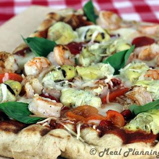 Grilled Shrimp 'n Artichoke Pizza.