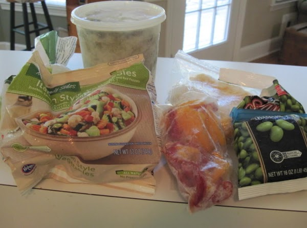 Addmixed left over veggies (4-6 cups)OR2-3 bags of frozen mixed veggies1 can chopped stewed...