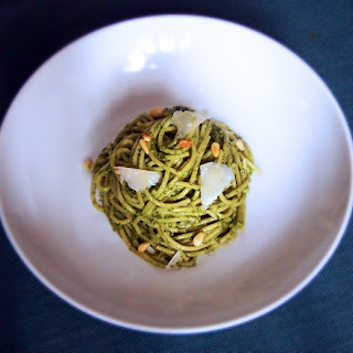 Basil and Spinach Pesto Pasta with Pine Nuts.