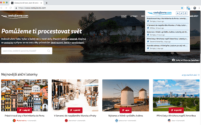 Cestujlevne.com notifikátor