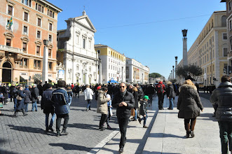Photo: The crowds leaving the Square and moving down the Via della Conciliazione
