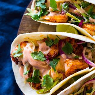 Spicy Shrimp Tacos with Cilantro Slaw and Sriracha Sauce Recipe