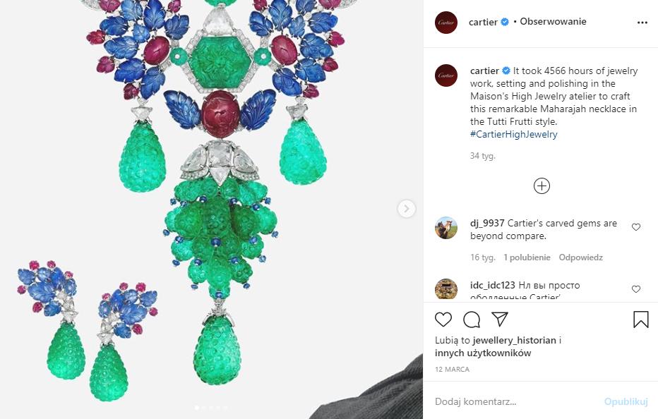Marketing w branży jubilerskiej - biżuteria tutti frutti - IG Cartier - screen