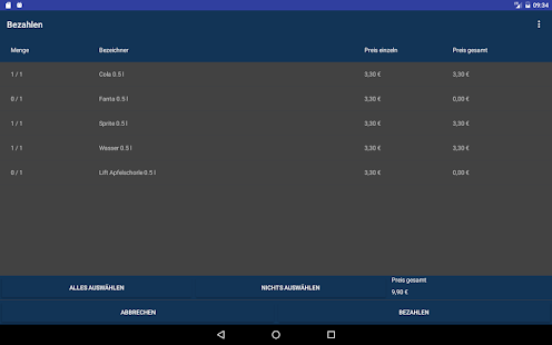 Kasse 2.0 für Tablets Screenshot