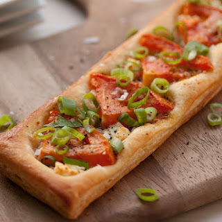 Tomato, Scallion and Goat Cheese Puff Pastry Tart.