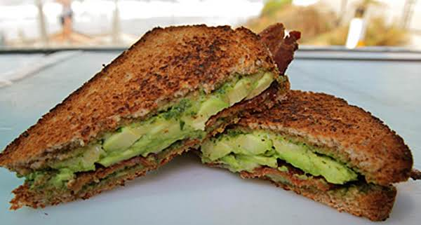 Grilled Pesto, Avocado, Bacon Tomato Sandwich