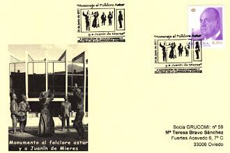 Photo: Matasellos de la estatua del Homenaje al folclore astur en La Corredoria