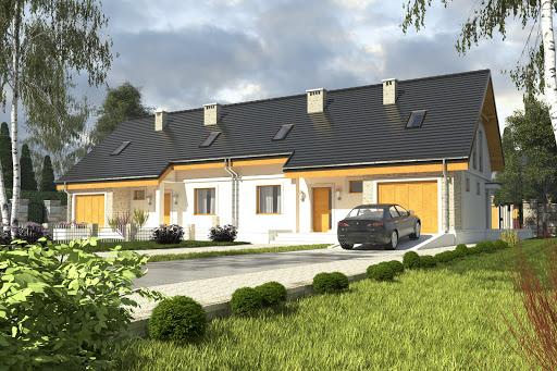 projekt Alka z garażem 1-st. bliźniak A-BL2
