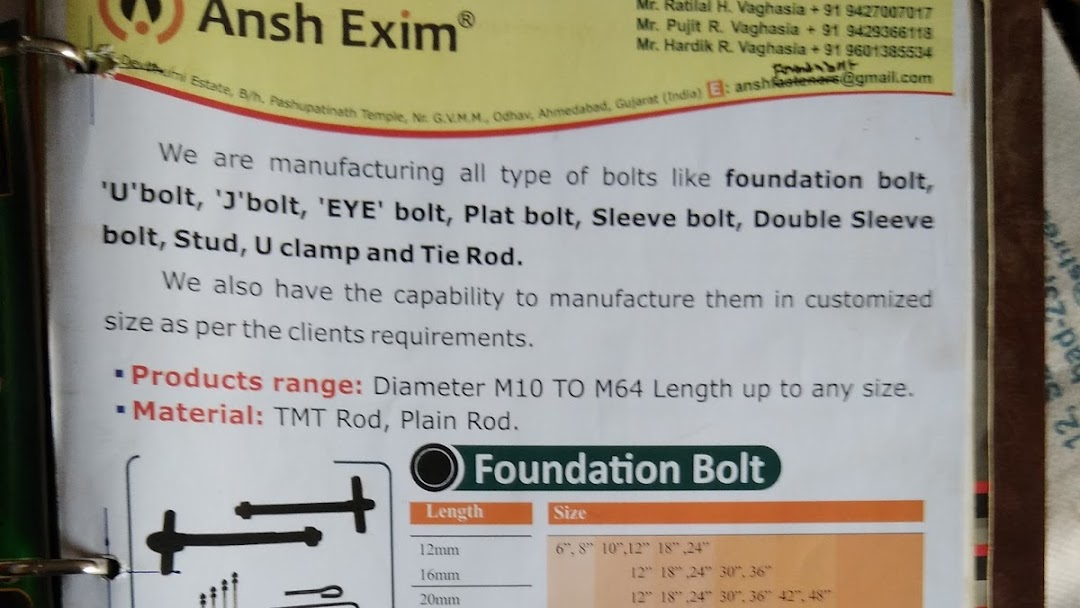 Ansh Exim (Mfg  Of Foundation Bolt) - Manufacturer in Ahmedabad