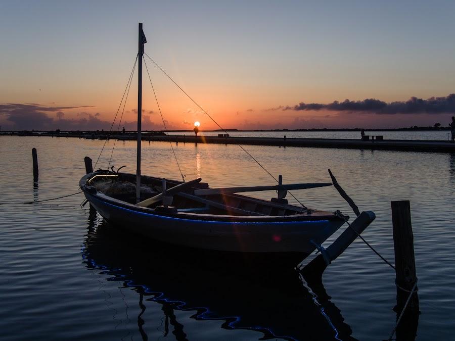 Lefcada by Estislav Ploshtakov - Transportation Boats ( greece, island, sunset, water, lefcada, boat )