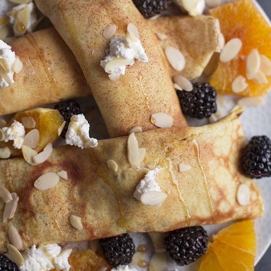 Healthy Crepes with Ricotta Cheese, Honey & Fresh Orange