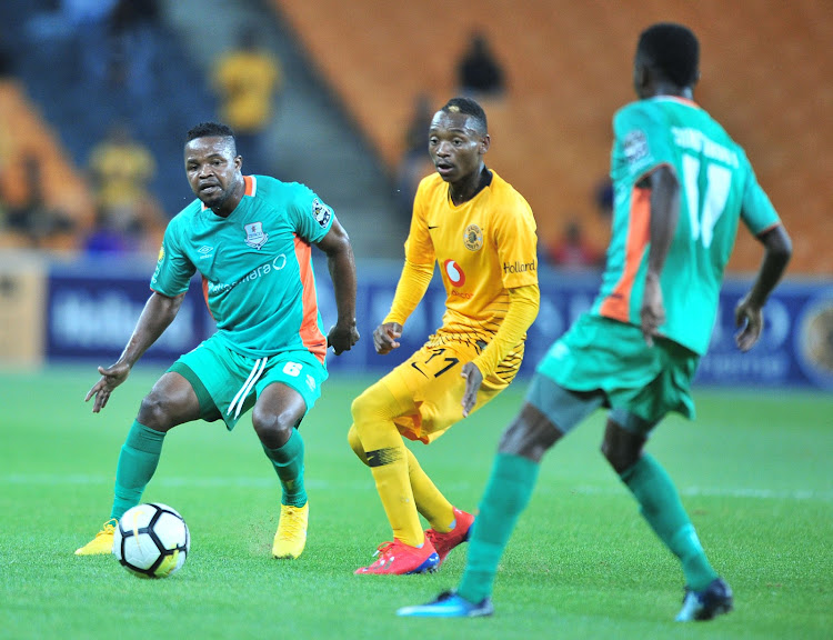 Kiazer Chiefs forward Khama Billiat tries to get away from his markers during a 2-0 Caf Confederation Cup defeat at home against Zambian side Zesco United at FNB Stadium in Soweto on Saturday January 19 2019.