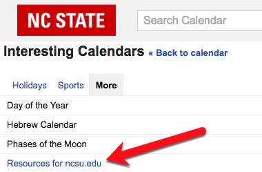 Resources for ncsu.edu link in Google Calendar