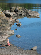 Photo: Day 9: Child exploring rocks at Eastsound beach.