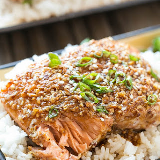 Almond Crusted Salmon with Honey Garlic Sauce.