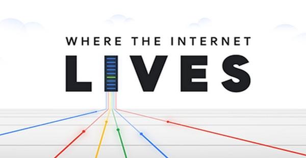 Logotipo do podcast Where the Internet Lives junto com um servidor de data centers