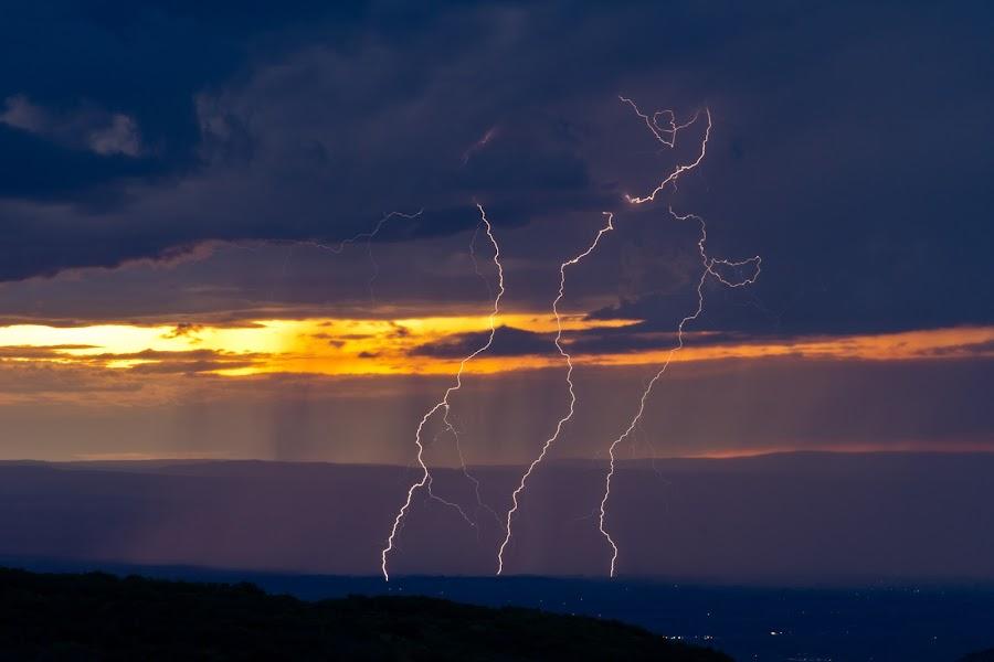 Sunset lightning over Montrose by Mike Molloy - Landscapes Weather ( lightning, montrose, colorado, pwcstorm, storm )