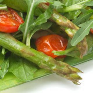 Penne Pasta Salad with Asparagus, Arugula and Balsamic Vinaigrette.