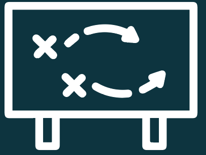 Icon that portrays strategy on a board