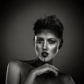 elle by Karen Shivas - People Portraits of Women ( makeup, dark, black, paint, portrait )