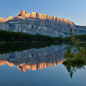 Mt Rundle by Peter Luxem - Landscapes Mountains & Hills