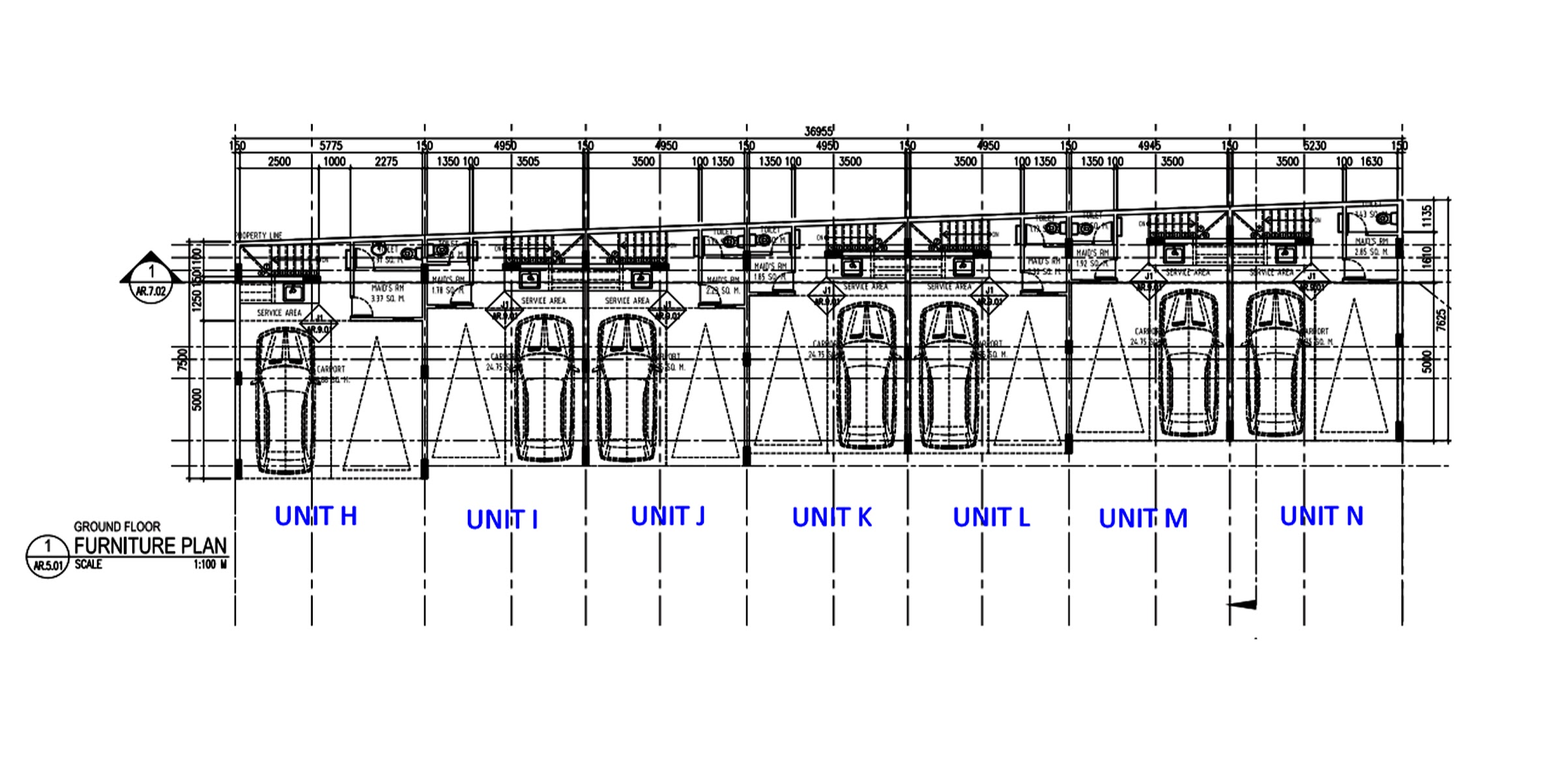 Units H to N first floor plan