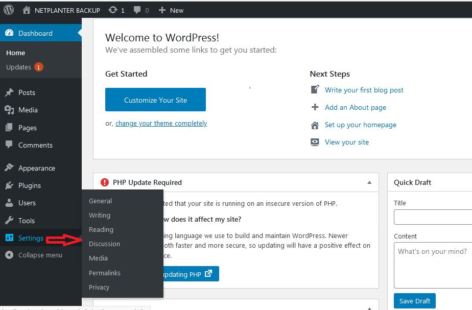 WordPress Setting on Dashboard