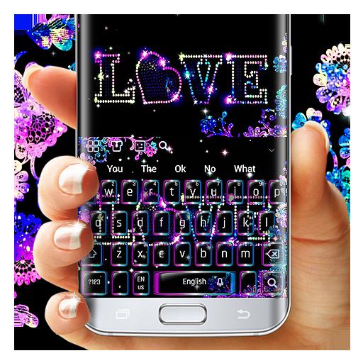 Glitter Neon Love Keyboard