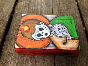 Photo: St. Jude. 05.05.2013. 2.5 x 3.5 x 0.75 inches or 6 x 9 x 2 cm. Acrylics and ink on found wood. Signed. Sealed with a matte finish. ©Marisol McKee