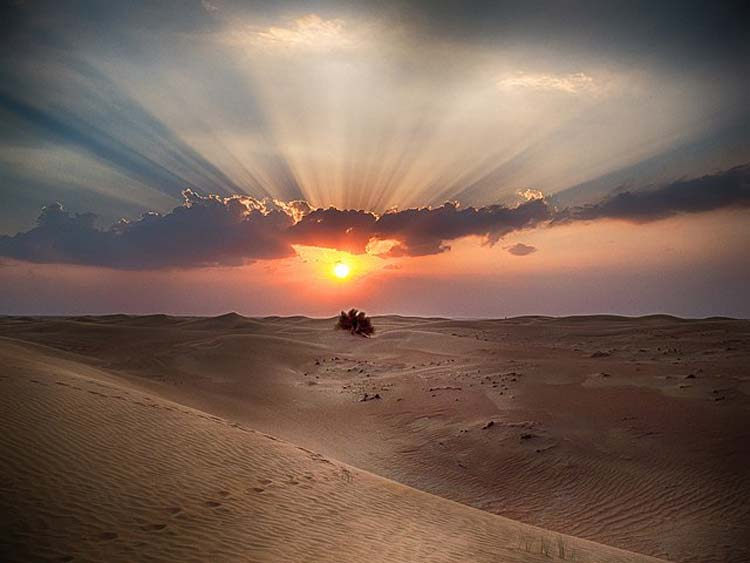 A stretch of beautiful Arabian Desert in the United Arab Emirates.