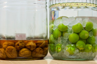 Photo: June 9, 2012 - Homemade Umeshu (3 year old version at left, and freshly prepared at right)