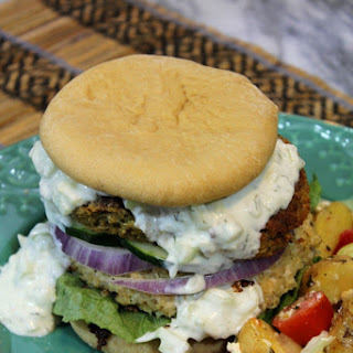 DOUBLE DECKER GREEK CHICKEN & FALAFEL BURGERS