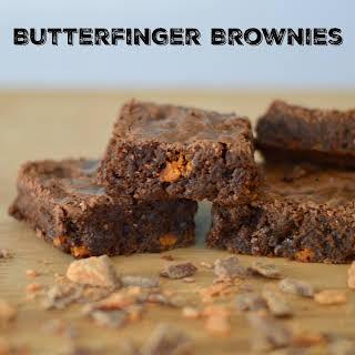 Decadent Butterfinger Brownies.